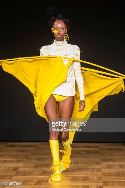 A model walks the runway at the Swedish School of Textiles show during Stockholm Runway SS19 at Grand Hotel on August 28 2018 in Stockholm Sweden