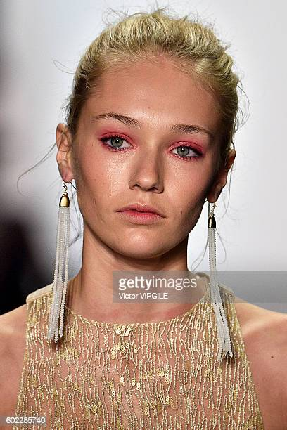 A model walks the runway at the Tadashi Shoji Ready to Wear Spring Summer 2017 fashion show durng New York Fashion Week on September 9 2016 in New...