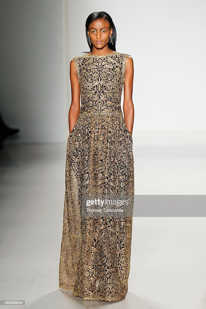 A model walks the runway at the Tadashi Shoji show during Mercedes-Benz Fashion Week Fall 2015 at The Salon at Lincoln Center on February 12, 2015 in New York City.