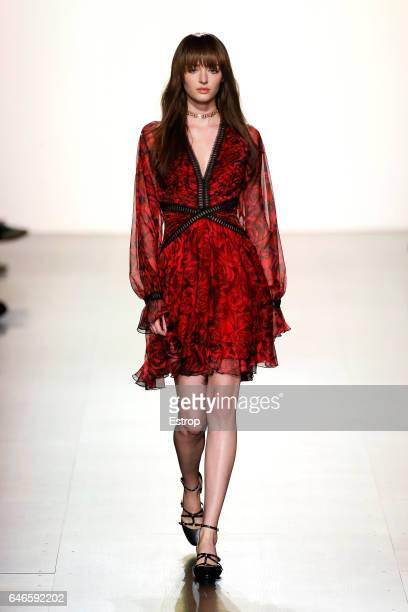 A model walks the runway at the Tadashi Shoji show during the New York Fashion Week February 2017 collections on February 9 2017 in New York City