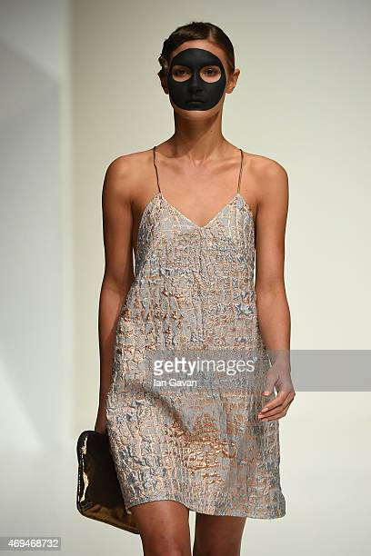 A model walks the runway at the Taller Marmo presented by Gabs show during Dubai Fashion Forward April 2015 at Madinat Jumeirah on April 12 2015 in...