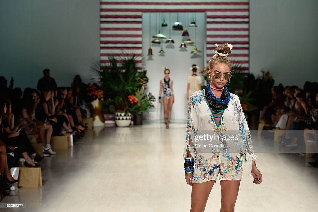 A model walks the runway at the Talulah show during Mercedes-Benz Fashion Week Australia 2014 at Carriageworks on April 8, 2014 in Sydney, Australia.