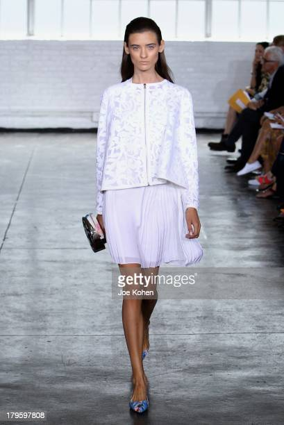 A model walks the runway at the Tanya Taylor fashion show during MercedesBenz Fashion Week Spring 2014 at Industria Studios on September 5 2013 in...
