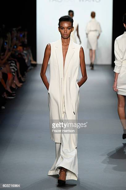 A model walks the runway at the Taoray Wang fashion show during New York Fashion Week The Shows at The Dock Skylight at Moynihan Station on September...