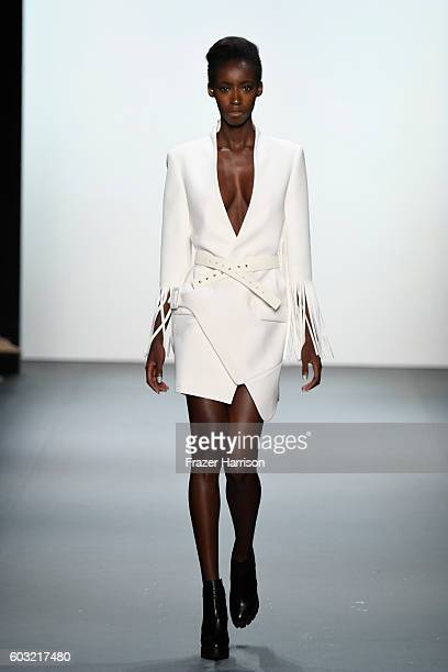 Model walks the runway at the Taoray Wang fashion show during New York Fashion Week: The Shows at The Dock, Skylight at Moynihan Station on September...