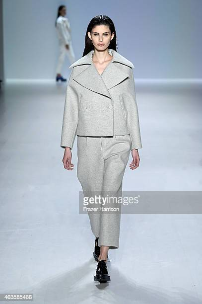 Model walks the runway at the Taoray Wang fashion show during Mercedes-Benz Fashion Week Fall 2015 at The Salon at Lincoln Center on February 16,...