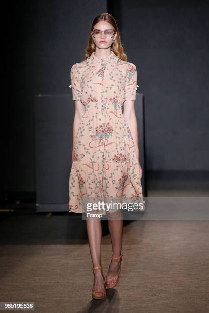A model walks the runway at the TCN show during the Barcelona 080 Fashion Week on June 25 2018 in Barcelona Spain