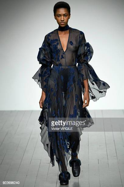 Model walks the runway at the Teatum Jones Ready to Wear Fall/Winter 2018-2019 fashion show during London Fashion Week February 2018 on February 20,...
