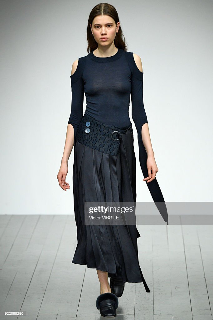 A model walks the runway at the Teatum Jones Ready to Wear Fall/Winter 2018-2019 fashion show during London Fashion Week February 2018 on February 20, 2018 in London, England.