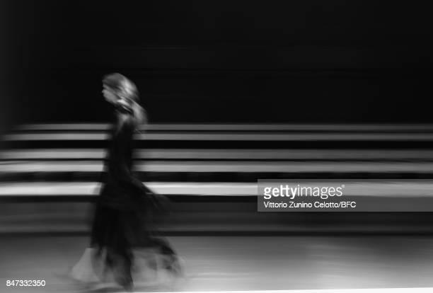 Model walks the runway at the Teatum Jones show during London Fashion Week September 2017 on September 15, 2017 in London, England.