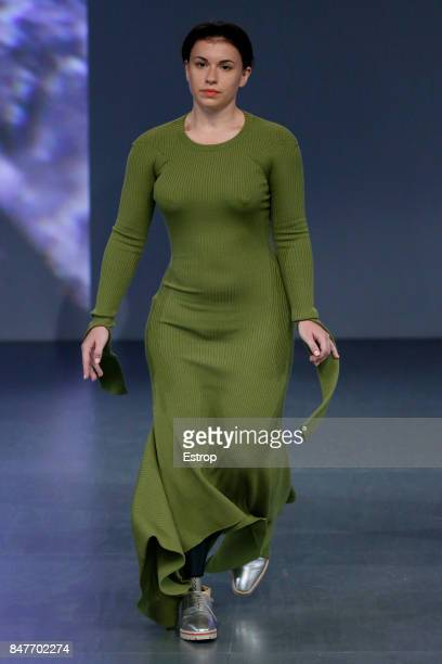 A model walks the runway at the Teatum Jones show during London Fashion Week September 2017 on September 15 2017 in London England