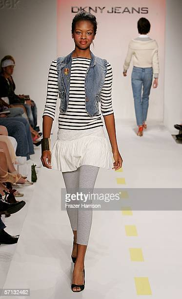 A model walks the runway at the Teen Vogue and DKNY JEANS show during MercedesBenz Fashion Week at Smashbox Studios on March 19 2006 in Culver City...