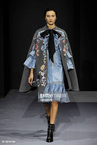A model walks the runway at the Temperley London Autumn Winter 2016 fashion show during London Fashion Week on February 21 2016 in London United...