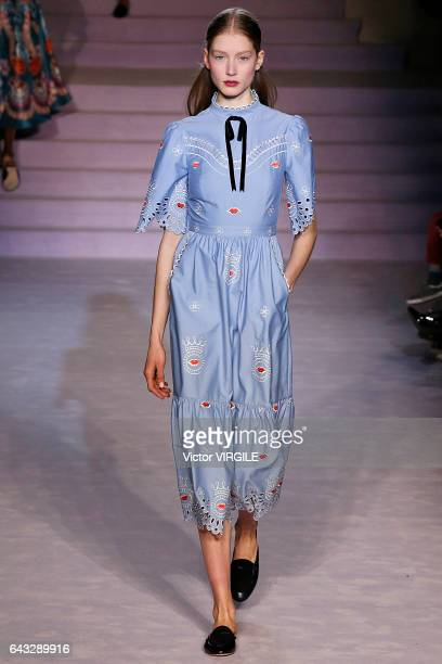 Model walks the runway at the Temperley London Ready to Wear Fall Winter 2017-2018 fashion show during the London Fashion Week February 2017...