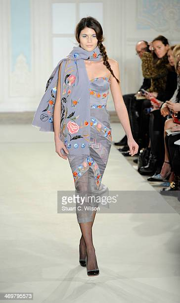 A model walks the runway at the Temperley London show at London Fashion Week AW14 at on February 16 2014 in London England