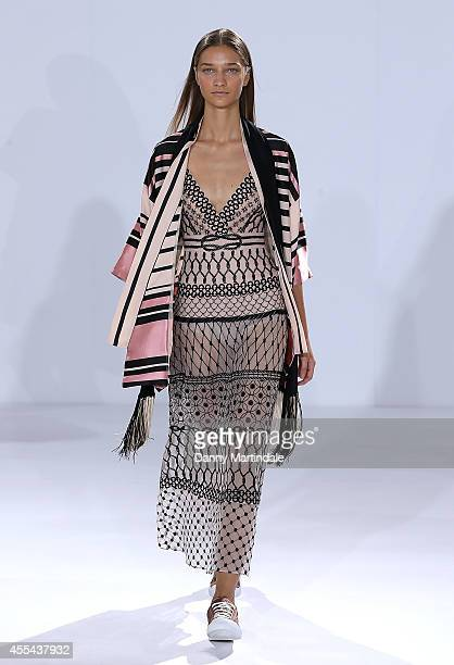 A model walks the runway at the Temperley London show during London Fashion Week Spring Summer 2015 at on September 14 2014 in London England