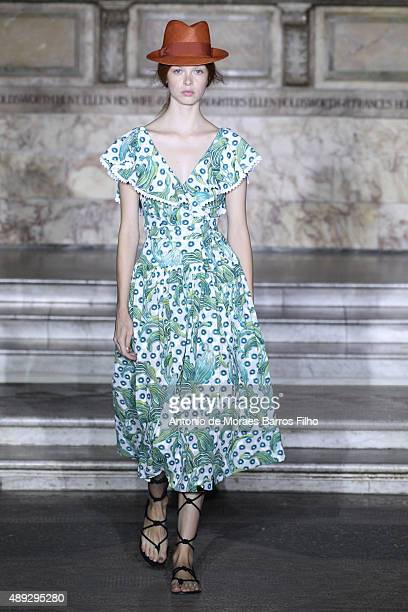 Model walks the runway at the Temperley London show during London Fashion Week Spring/Summer 2016/17 on September 20, 2015 in London, England.