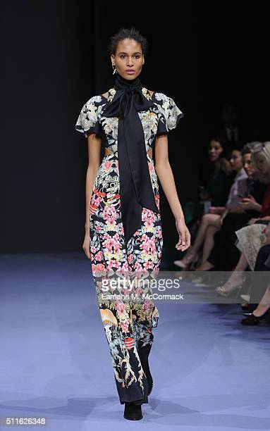 A model walks the runway at the Temperley London show during London Fashion Week Autumn/Winter 2016/17 at The Lindley Hall on February 21 2016 in...