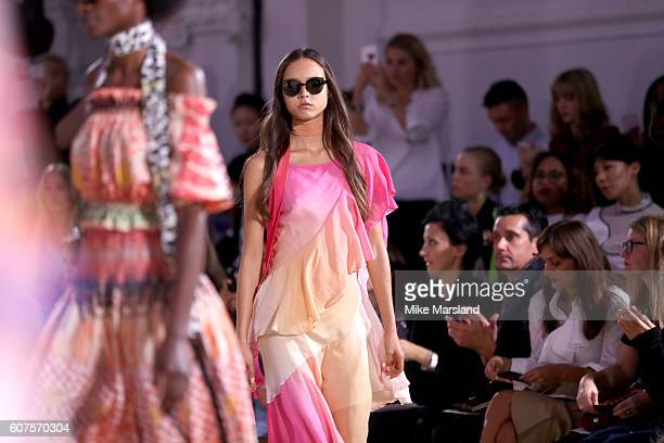 A model walks the runway at the Temperley London show during London Fashion Week Spring/Summer collections 2016/2017 on September 18 2016 in London...
