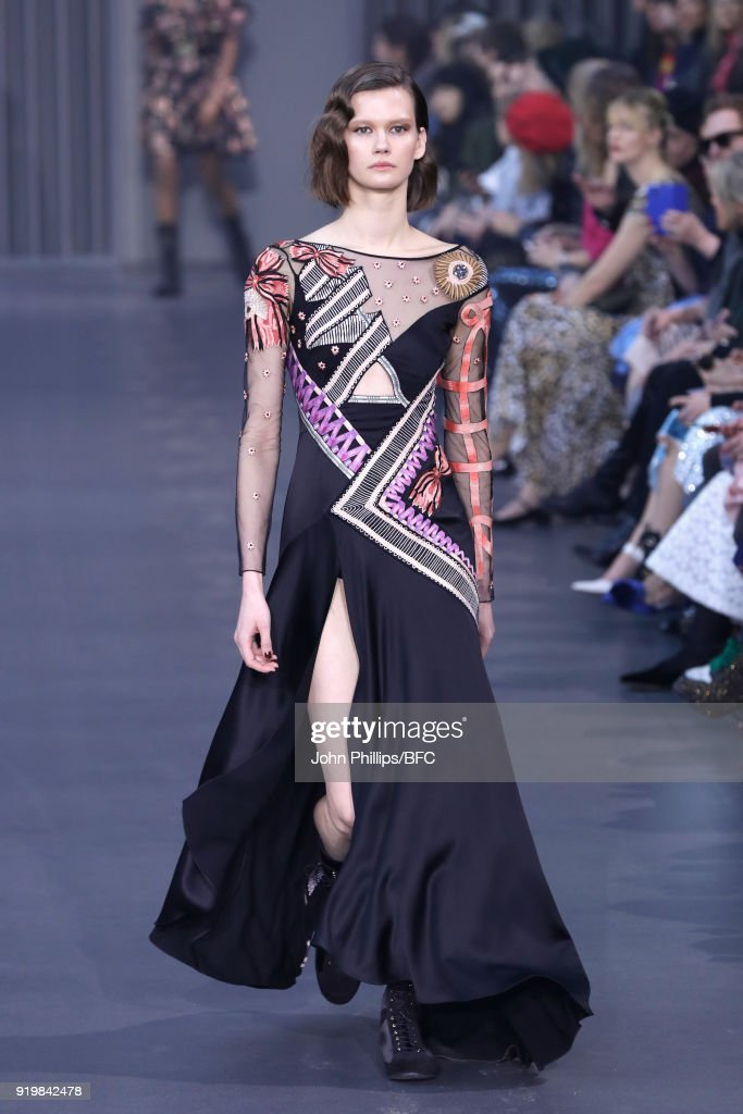 A model walks the runway at the Temperley London show during London Fashion Week February 2018 at on February 18, 2018 in London, England.