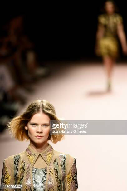 A model walks the runway at the Teresa Helbig fashion show during the Mercedes Benz Fashion Week Spring/Summer 2020 at Ifema on July 09 2019 in...