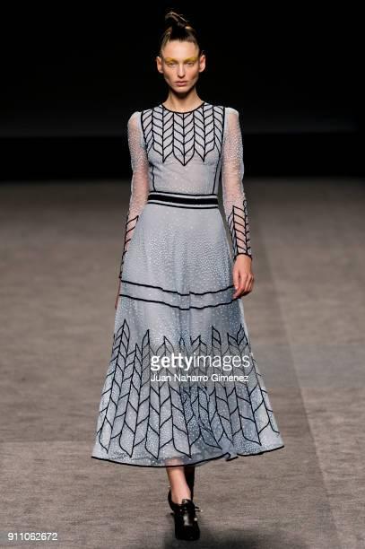 A model walks the runway at the Teresa Helbig show during the MercedesBenz Fashion Week Madrid Autumn/Winter 201819 at Ifema at Ifema on January 27...
