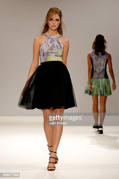 A model walks the runway at the Teresita Orillac show at Fashion Scout during London Fashion Week Spring/Summer 2016 on September 20 2015 in London...
