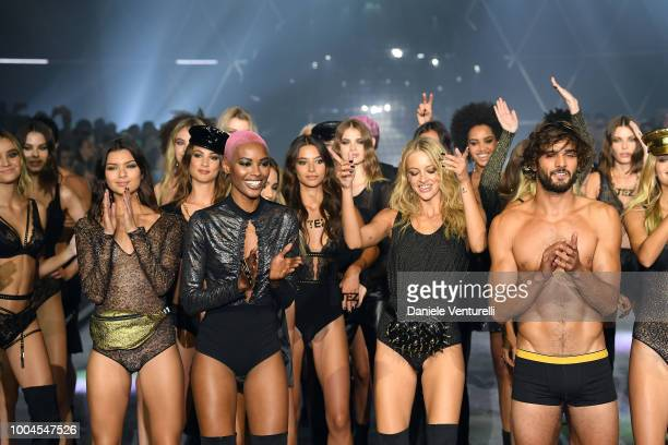A model walks the runway at the Tezenis show on July 24 2018 in Verona Italy
