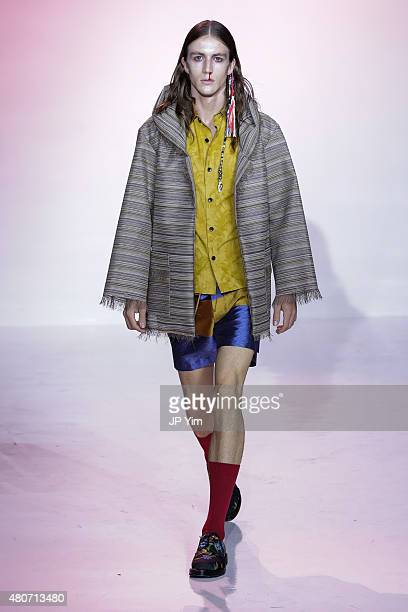 Model walks the runway at the Thaddeus O'Neil Collection during New York Fashion Week: Men's S/S 2016 at Skylight Clarkson Sq on July 14, 2015 in New...
