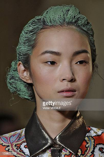 Model walks the runway at the Thakoon Spring 2012 fashion show during Mercedes-Benz Fashion Week at the Grand Ballroom at The Plaza Hotel on...