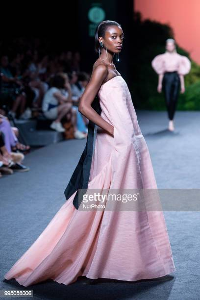 A model walks the runway at the 'The 2nd Skin Co' catwalk during the MercedesBenz Madrid Fashion Week Spring/Summer in Madrid Spain July 09 2018