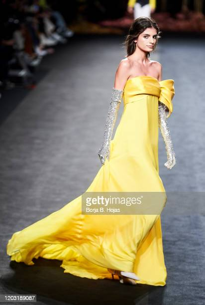 Model walks the runway at the The 2nd Skin Co. Fashion show during Mercedes Benz Fashion Week Madrid Autumn/Winter 2020-21 on January 31, 2020 in...