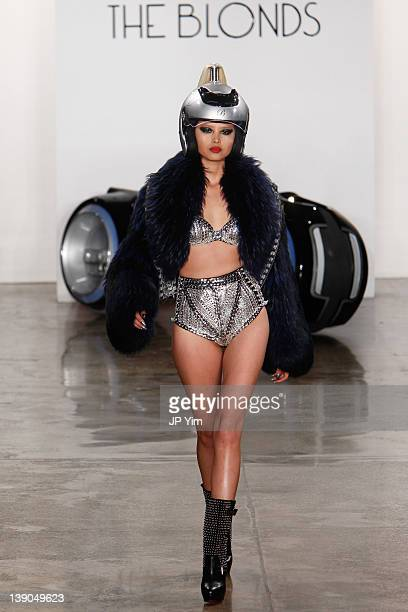 Model walks the runway at the The Blonds Fall 2012 fashion show during Mercedes-Benz Fashion Week at Milk Studios on February 15, 2012 in New York...