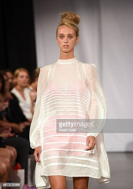 A model walks the runway at the The PolishAmerican Fashion Foundation fashion show during Spring 2016 New York Fashion Week at The New Museum on...