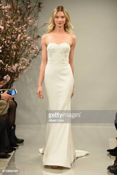 A model walks the runway at the Theia show during New York Fashion Week Bridal at the Theia Showroom on April 20 2017 in New York City