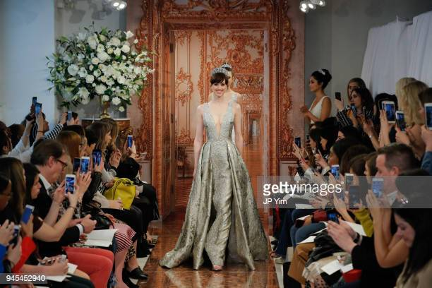 Model walks the runway at the Theia Spring 2019 Bridal Collection on April 12, 2018 in New York City.