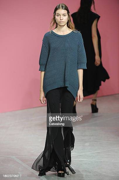 A model walks the runway at the Theyskens Theory Spring Summer 2014 fashion show during New York Fashion Week on September 9 2013 in New York United...