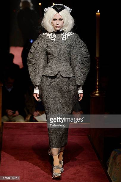 Model walks the runway at the Thom Browne Autumn Winter 2014 fashion show during New York Fashion Week on February 10, 2014 in New York, United...