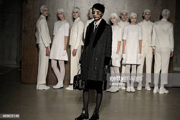A model walks the runway at the Thom Browne Autumn Winter 2015 fashion show during New York Fashion Week on February 16 2015 in New York United States