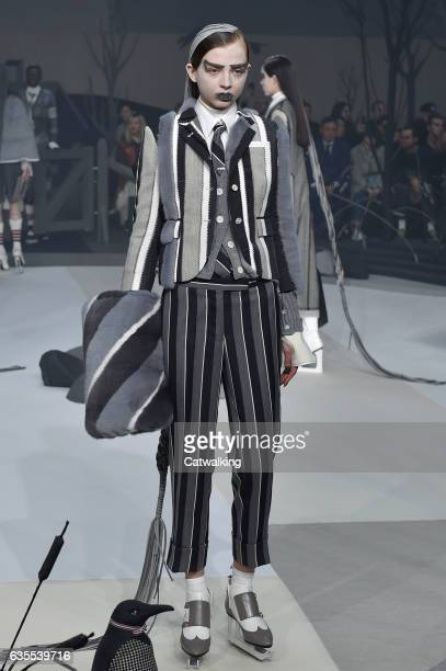 A model walks the runway at the Thom Browne Autumn Winter 2017 fashion show during New York Fashion Week on February 15 2017 in New York United States