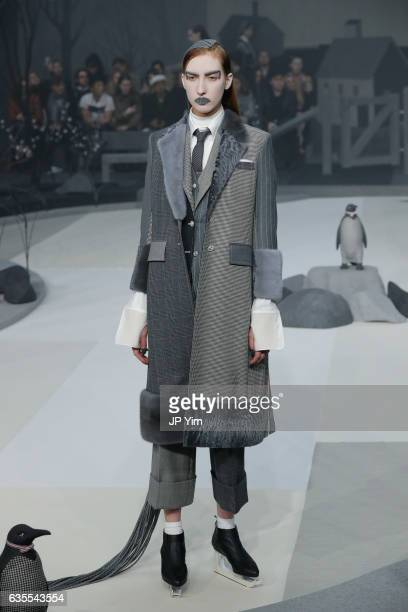 A model walks the runway at the Thom Browne Fall/Winter 2017 collection at Skylight Modern during New York Fashion Week on February 15 2017 in New...