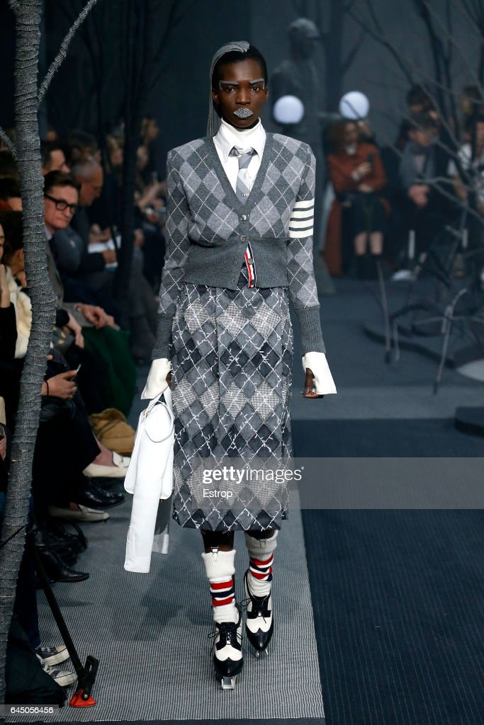 A model walks the runway at the Thom Browne show during the New York Fashion Week February 2017 collections on February 15, 2017 in New York City.
