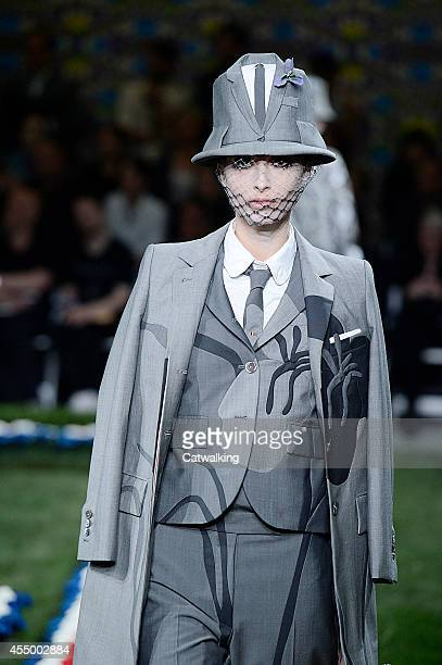 A model walks the runway at the Thom Browne Spring Summer 2015 fashion show during New York Fashion Week on September 8 2014 in New York United States