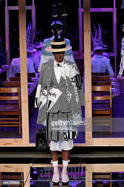 Model walks the runway at the Thom Browne Spring Summer 2016 fashion show during the New York Fashion Week on September 14, 2015 in New York City.