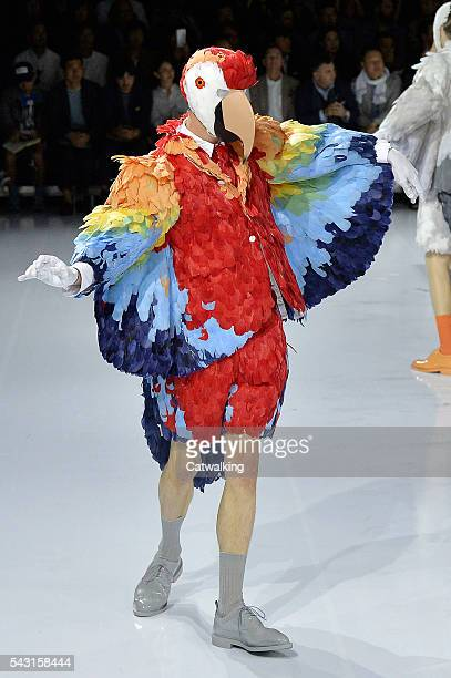 A model walks the runway at the Thom Browne Spring Summer 2017 fashion show during Paris Menswear Fashion Week on June 26 2016 in Paris France