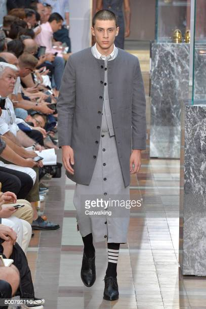 A model walks the runway at the Thom Browne Spring Summer 2018 fashion show during Paris Menswear Fashion Week on June 25 2017 in Paris France