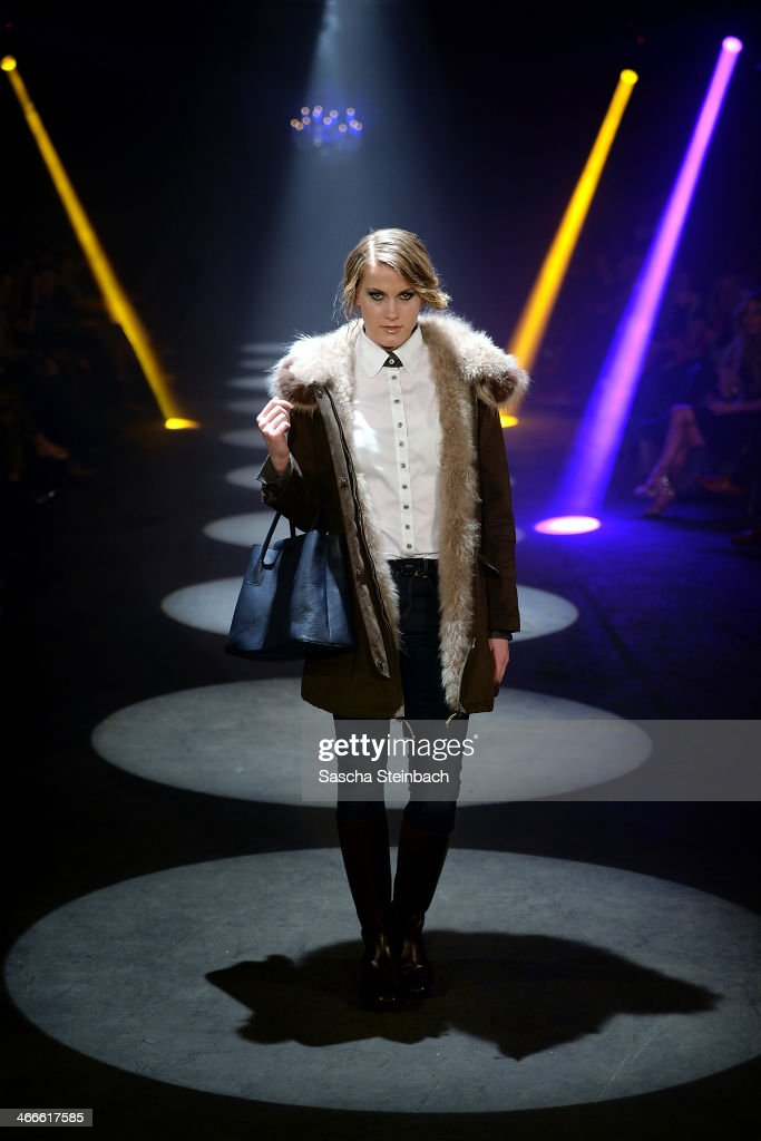 A model walks the runway at the Thomas Rath fashion show during Platform Fashion Dusseldorf on February 2, 2014 in Dusseldorf, Germany.