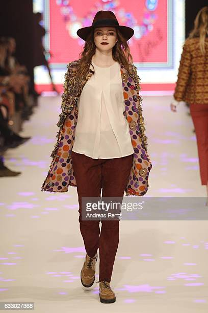 A model walks the runway at the Thomas Rath show during Platform Fashion January 2017 at Areal Boehler on January 29 2017 in Duesseldorf Germany