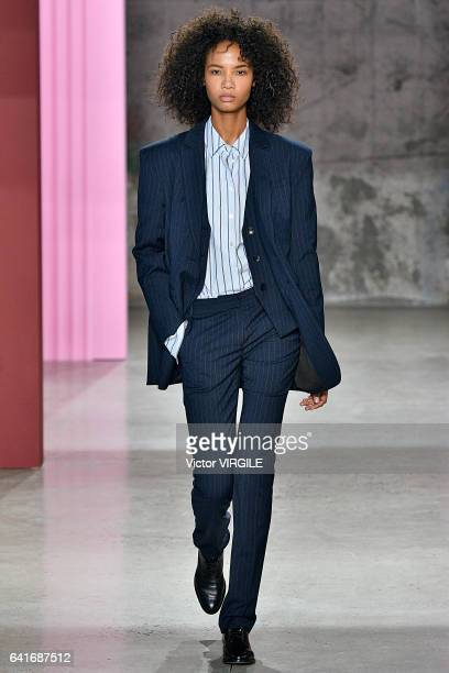 A model walks the runway at the Tibi fashion show during New York Fashion Week Fall Winter 201712018 on February 11 2017 in New York City