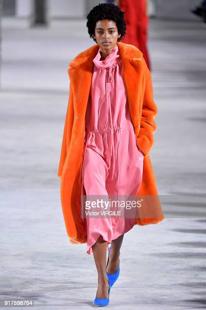 A model walks the runway at the Tibi Ready to Wear Fall/Winter 20182019 during New York Fashion Week on February 11 2018 in New York City